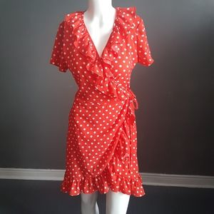 Red and white polka dot wrap dress